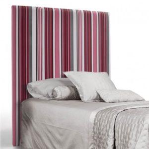 cabecero de cama tapizado a rayas